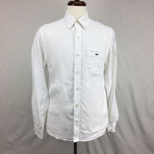 Vineyard Vines White Linen Button Down Shirt